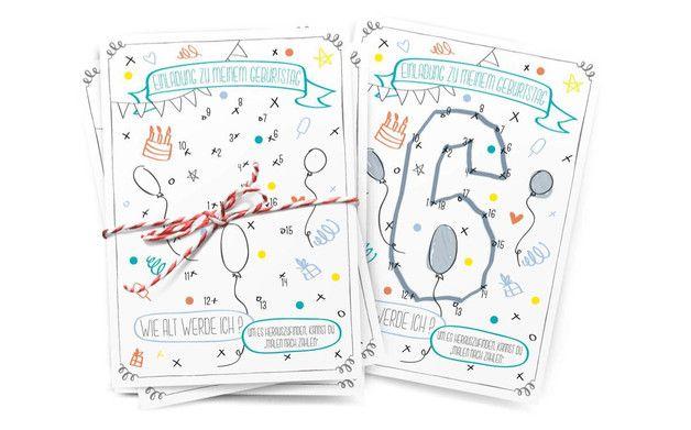 **Eine interaktive Einladung** WIE ALT WERDE ICH? Finde es heraus – einfach **MALEN** **NACH** **ZAHLEN** !  Die _Malen nach Zahlen_ Kindergeburtstagskarte ist eine DinA6 Postkarte.  **Die...