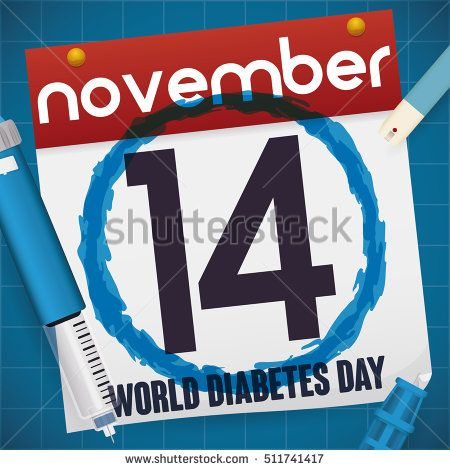 Loose-leaf calendar with date for World Diabetes Day and a insulin injection, lancet spare parts and test strip for glucometer.