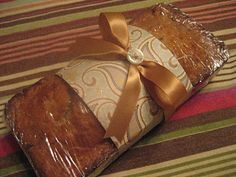 Wrapping Bread for Gifts.  My Grandmother gives me wrapped up banana nut bread every year for Christmas.  I Love It!