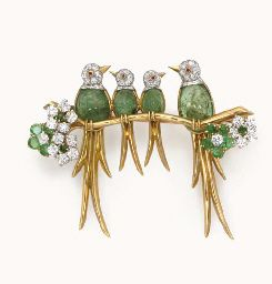 AN EMERALD AND DIAMOND BIRD BROOCH, BY VAN CLEEF & ARPELS  Designed as four birds with cabochon emerald bodies, cabochon ruby eyes and pavé-set diamond heads, perched on a polished gold branch, enhanced by circular-cut emerald and diamond flowers, mounted in 18k gold, with French assay marks and jeweler's mark for Van Cleef & Arpels Signed Van Cleef & Arpels, nos. 1249CS and 5141