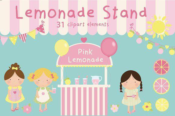 Lemonade stand clipart by Poppymoondesign on @creativemarket
