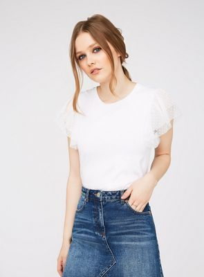 Miss Selfridge White spot mesh trim t-shirt | Debenhams