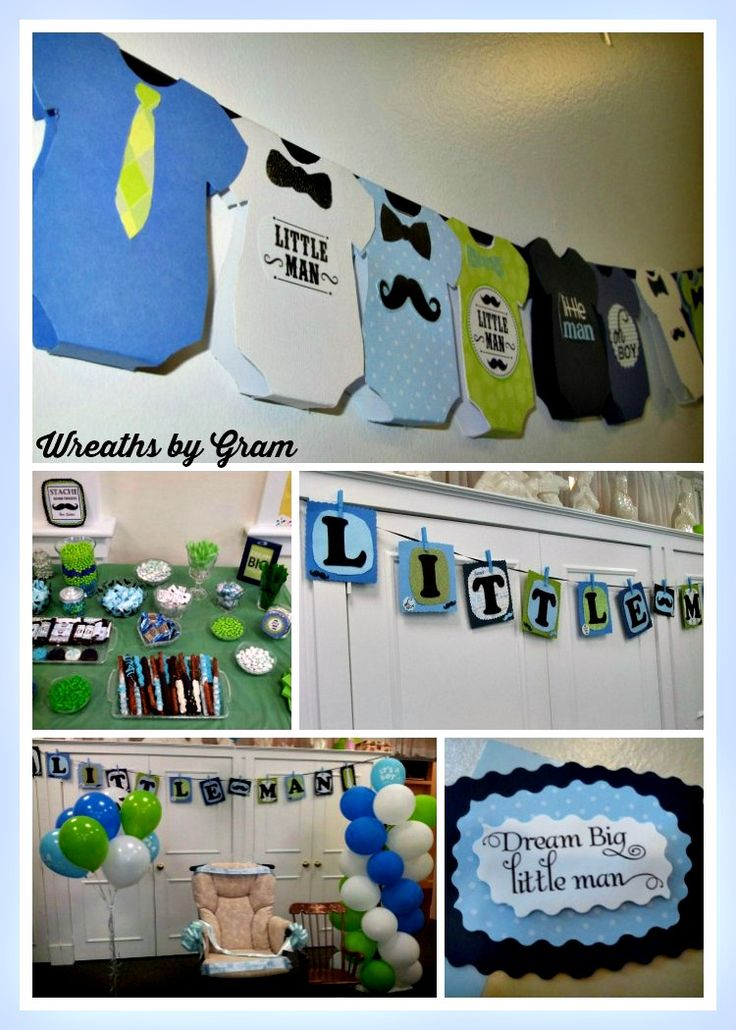 Little Man baby shower for my daughter.  All handmade crafts to personalize the shower.  Banner of onsies and Little Man spelled out.  Candy buffet and balloon swirl.