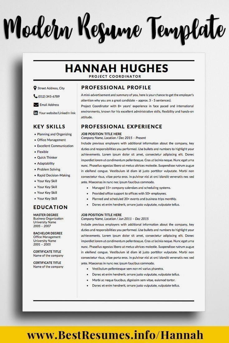 Modern Resume Template Hannah Hughes Modele De Cv Enseignant Competences Cv Redaction De Cv