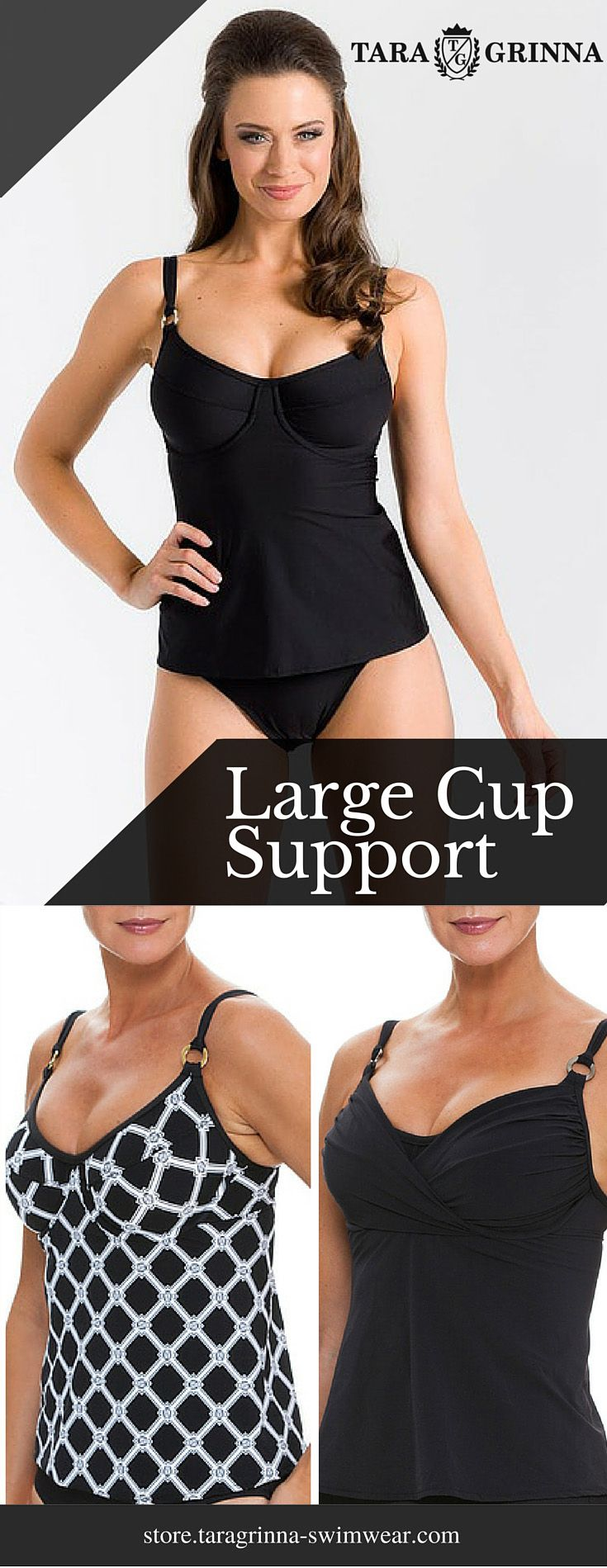"""Big Busts Support ★★★★★ """"This is the BEST bathing suit that provides support and lift for a full bust! First off it is hard to find a true bra-sized bathing suit larger than a DD cup anywhere.This top holds you up in all the right places while being fun, youthful and sexy. High quality fabric and construction. I will be defininitely ordering more!"""" Jane Black and White Tankini $112 Black Cup Sized Tankini $110.00 See now at http://store.taragrinna-swimwear.com/bestselling/"""