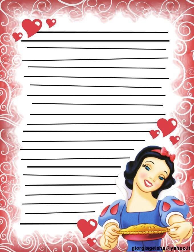 Princesses So In Love From Snow White The Seven Dwarfs As Courtesy Of Walt Disney Disney Scrapbook Printable Lined Paper Papercraft Printable