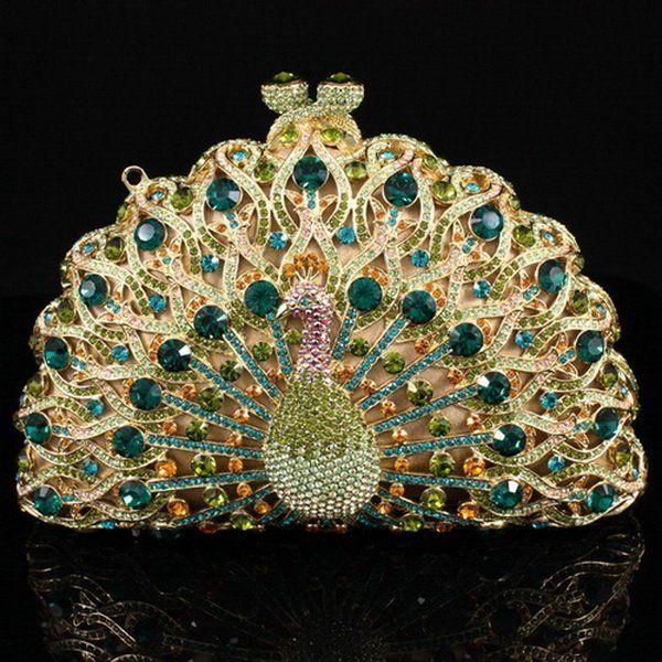 Fashion Green Crystals Peacock Clutch Evening Purse Bag,Wedding Designer Handbags Unique,Free shipping WholesaleRetail $547.37