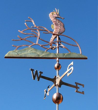 This seahorse weathervane consists of a copper Seahorse and coral with a brass sea floor. Popula metal choices are brass and copper.