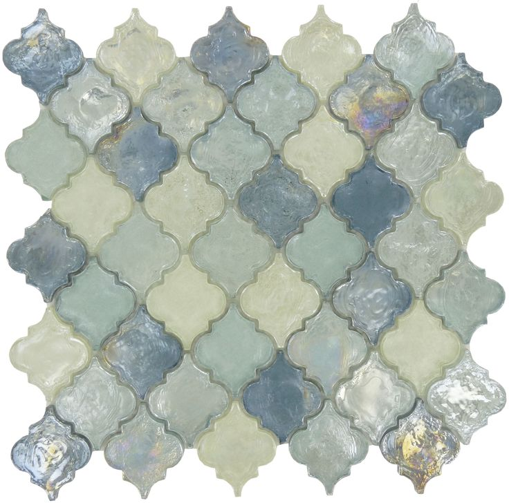"There are dozens of shades of blue that appear when you look into water, and this heavenly lagoon blue glass tile attempts to showcase all of them. The graceful arabesque tiles, which are 2"" by 2 ¼"", are the perfect complement to any kitchen or bathroom. Though the design is unique, it fits together to form a seamless whole that you'll be proud to display as a backsplash, accent wall, or any other tiled design. At ¼"" thick, each tile is heavy and durable with a color that will shine through…"