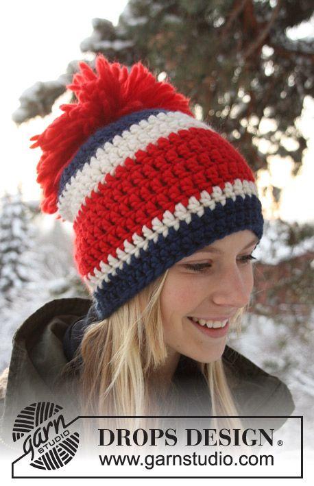 Crochet DROPS hat gorro en los colores de Olimpia!