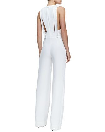 Adam Lippes Plunging V Jumpsuit with Peekaboo Back, White -
