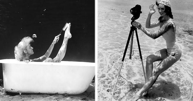 14 Impresionantes fotografías pin-up que fueron tomadas bajo el agua.