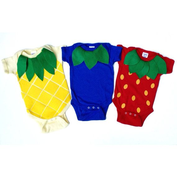 Fruit Salad Triplet Baby Costume Food Onesie by TheWishingElephant