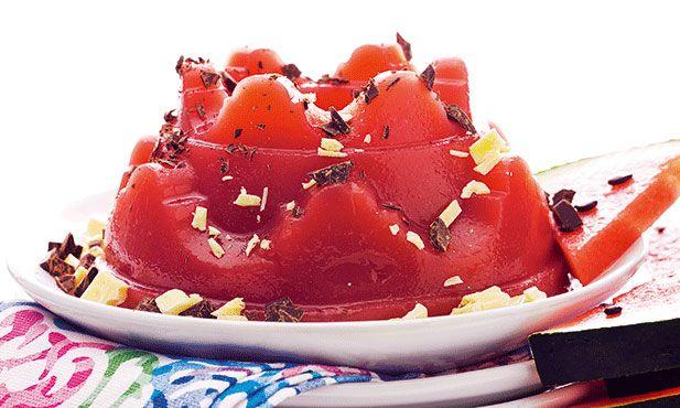 Pudim gelado de melancia uma receita muito simples com um sabor fresco para o Verão