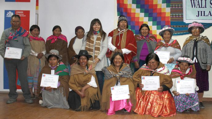Educadores  tradicionales en  lengua  Aymara de  la  comunidad  de  Putre certificado  por  Conadi - Chile.