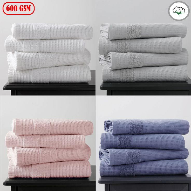 600GSM 4 Pce Waffle Cotton Bath Towels by Home Innovations