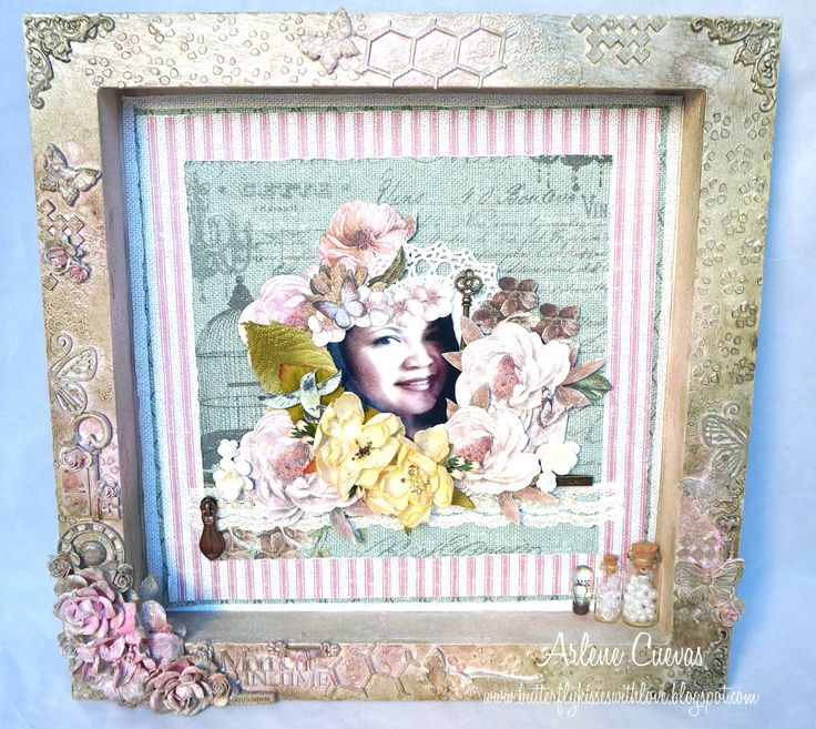 Altered Mixed Media shadow box with layout using FabScraps French Heritage collection and lots of yummy Lindy's Stamp Gang sprays, available at Discountpapercrafts.etsy.com.