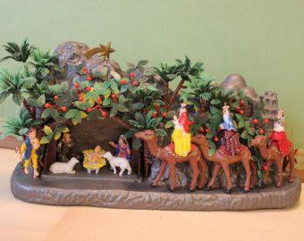 Nativité Vintage Set - en plastique, plus grande, Made in Hong Kong, 1014