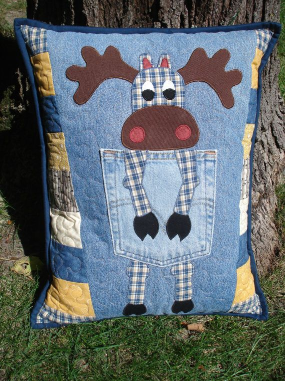 Northern Moose Denim Pillow made with Upcycled by BackPocketDesign, $85.00