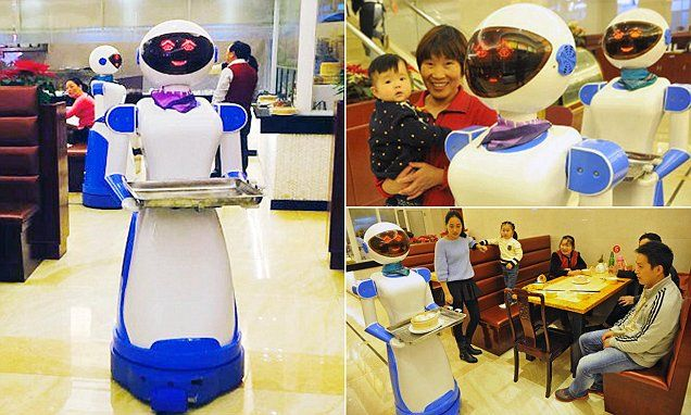 Robot Waiters Already At Work In China [Future Robots: http://futuristicnews.com/category/future-robots/ Robotics Books: http://futuristicshop.com/category/robotics-books/ Robots for the Home: http://futuristicshop.com/category/robots/] #science #technology #robot