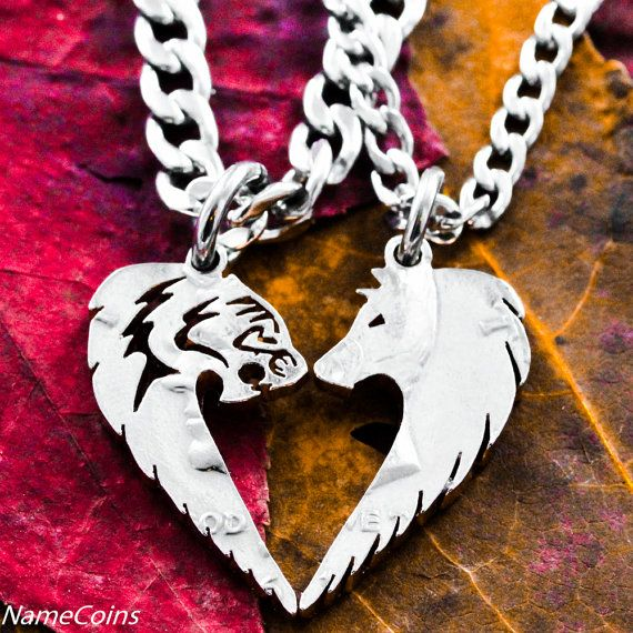 Tribal Tiger and Wolf Necklace Set, Friendship necklaces, Half Dollar Cut Coins, Relationship Jewelry, Half Dollar
