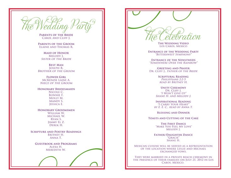 Wedding itinerary templates free wedding reception for Bridal shower itinerary template
