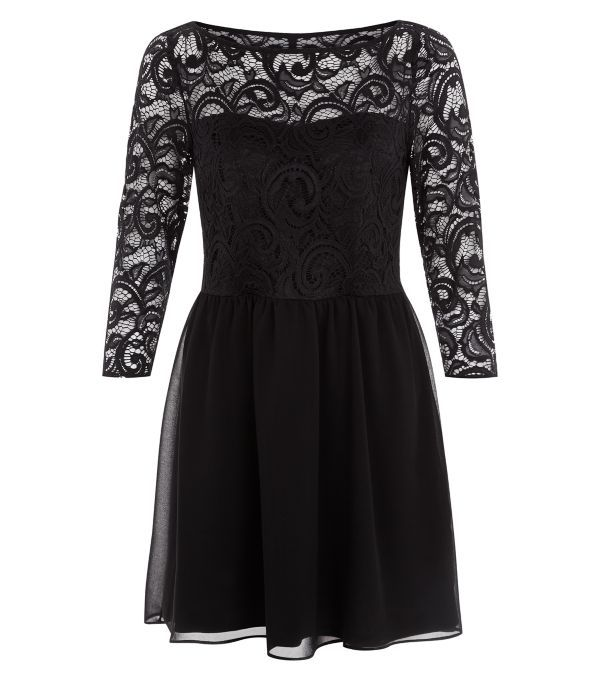 Black Chiffon Lace 3/4 Sleeve Skater Dress | New Look