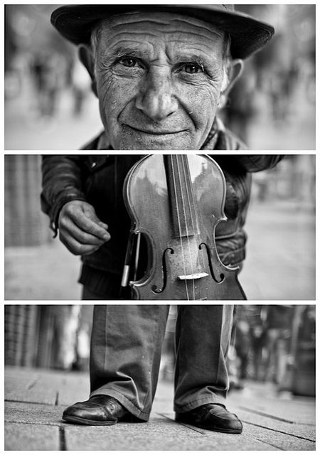"""Triptychs of Strangers #26, The Fingercounting Violonist - Hamburg  """"Meet, Peterica. He is 61 years old and originally from Bukarest, Romania. 2 years ago he came to Hamburg with his 1 wife and his 4 younger kids in the hope of finding a better life. He is and has always been an musician, he started playing violin at the age of 6, which makes 55 years in total. He has also given classes for 40 years in his hometown.     His favorite song could be """"O sole mio"""", at least he was playing it most…"""