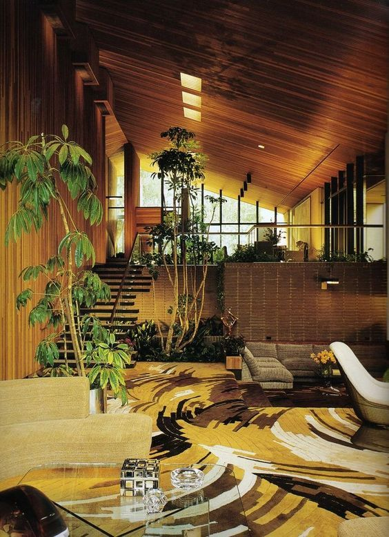 interior plants 70's earth wood carpet room living