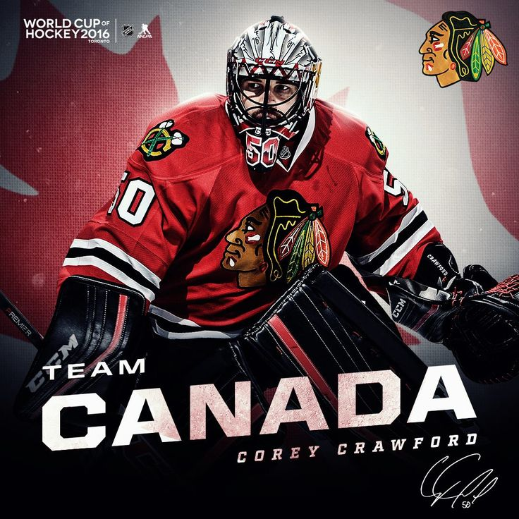 Corey Crawford will represent Team Canada at the 2016 World Cup of Hockey! #Blackhawks #Crow