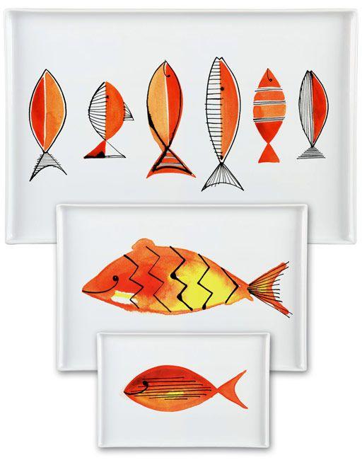 Margaret Berg Art: Yellow+Red+Fishies+Serveware