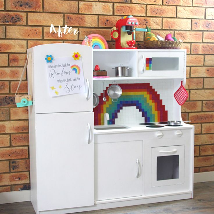 Before and After: A Kmart Wooden Play Kitchen Hack