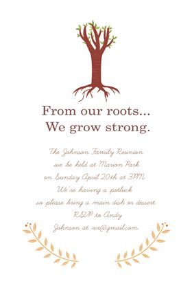 """""""Our roots"""" printable invitation. Customize, add text and photos. print for free!"""