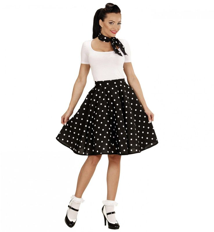 Black Lady 50s Rock And Roll Rok Met Nekband, Zwart Vrouw Kostuum