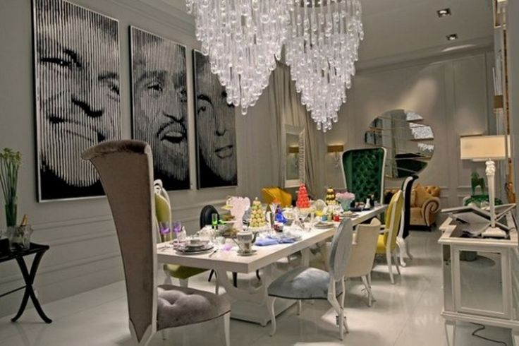 Sparkling Crystal Chandelier With High Back Chair For Glamorous Modern Dining Room Sets With Nice Wall Photos