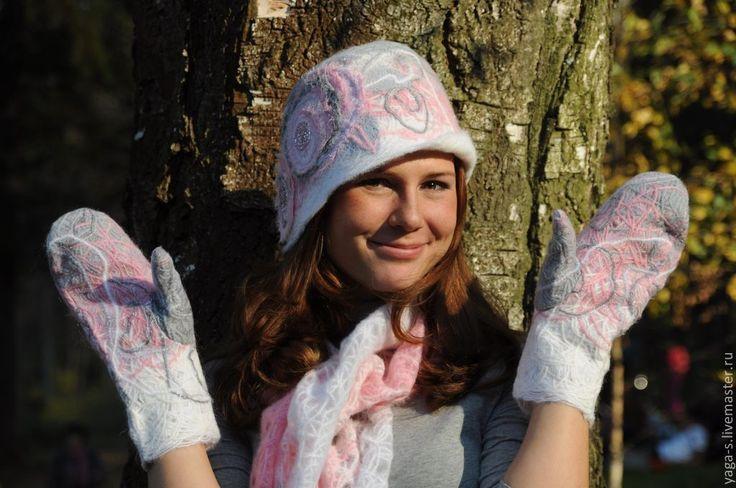 Купить Варежки «Розовый сад» - розовый, цветочный, варежки из шерсти, варежки валяные, варежки женские