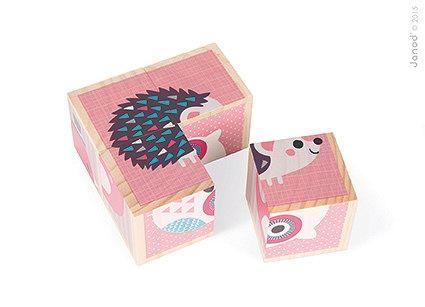 Drewniane klocki-puzzle 6w1 (4 elem.) - zwierzątka - MamaGama: SPRAWDZONE i przydatne akcesoria dla mam i dzieci.