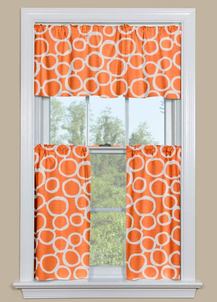 Kitchen Curtain Valance and Tier Pair With Geometric Design in Orange and White