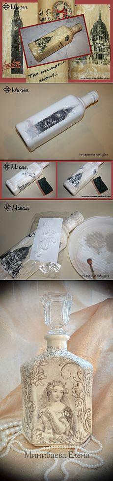 Перевод изображения на предмет с помощью краски. Декор бутылок