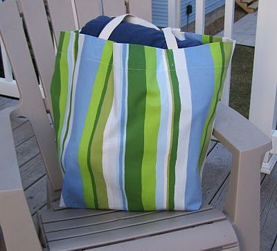 Over-sized beach tote tutorial. Sew up an oversize tote for your trip to the beach, the park or storage around your home. This step-by-step tutorial by Jane Skoch shows you how to make a tote that stores 8 towels.