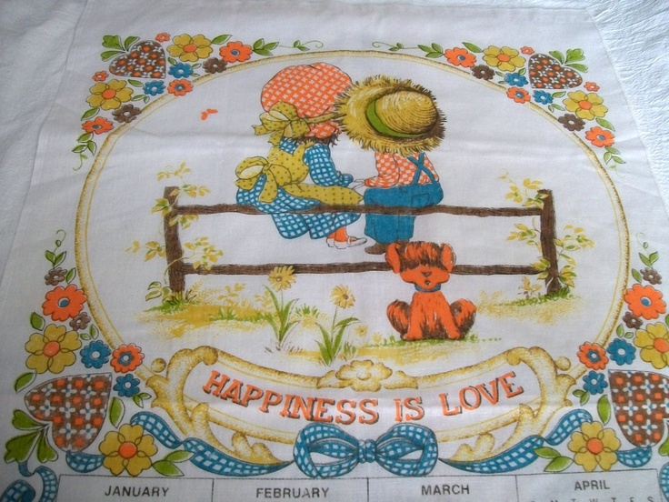 Vintage Tea Towel Calendar, 1981, Happiness Is Love.