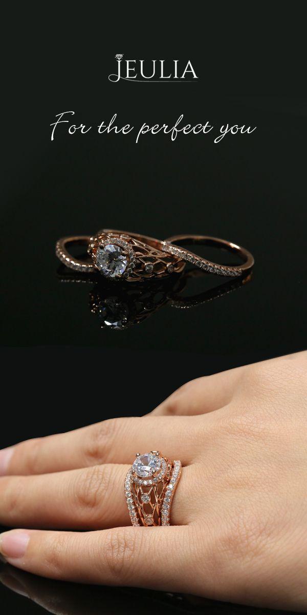 Rose Gold 3PC Halo Round Cut Created White Sapphire Wedding Set #Jeulia