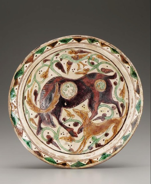 Iran 10th-11th century Glazed clay bowl with stag and dog