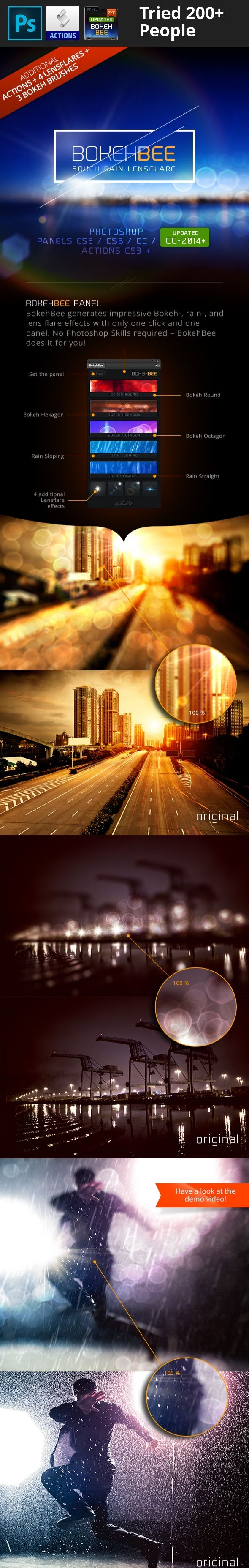 blur, bokeh, depth of field, drops, focus, highlights, image, lens flares, lensflare, light, occurs, panel, plugin, rain, reflections, shift, shower, source, specular, tilt, tilt shift, water BokehBee – Bokeh Rain Lens-Flare Generator Extension panel for Adobe Photoshop® CS5, CS6, CC, CC-2014 + Actions Set for Adobe Photoshop® CS3 +  BokehBee generates impressive Bokeh-, rain-, and lens flare effects with only one click and one panel! No extensive Photoshop knowledge is required – Bok...