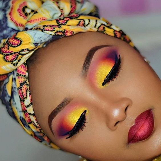 Yellow makeup looks on dark skin