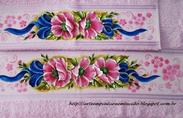 Pintura em Tecido Passo a Passo Com Fotos: Pintura em Tecido Jogo de banho pintado a mão