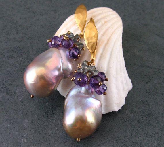 Huge baroque pearl earrings, handmade oil slick pearl, amethyst and green sapphire earrings-OOAK via Etsy