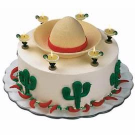 This cake features a sombrero, margaritas, peppers and cacti - perfect for Cinco de Mayo or other  Mexican themed party. http://www.wilton.com/idea/Fiesta-Margarita/?cmp=fb2012=504fiestamargarita#.T6QFa1UGNv4.pinterest