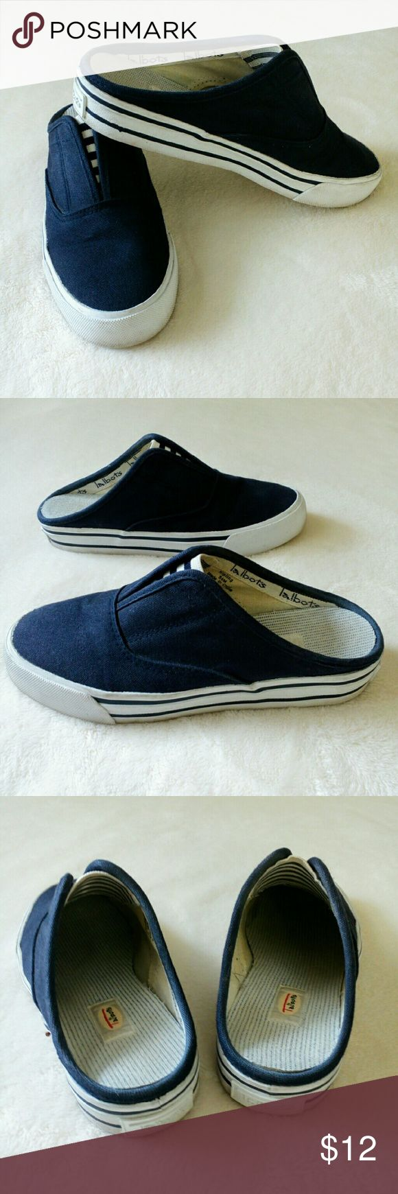 """🔵Talbot Mule Boat Shoes Size 5.5🔵 Very nice shape, gorgeous navy and white. Classic and Chic!! Measuring  on bottom of shoe, 9.25"""" L so 3.25"""" at the widest. These run a bit big in my opinion. Talbots Shoes Mules & Clogs"""