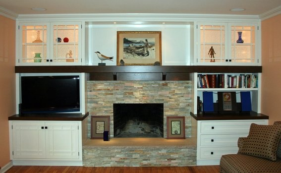 Fireplace Wall Stone With Tv And Shelves Home Is Where